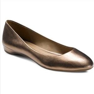 Ecco Metallic Gold Pewter Touch Flats Loafers Shoe